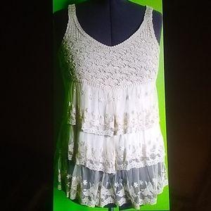 RXB layered Lace & Crochet  Cream Shirt  Medium
